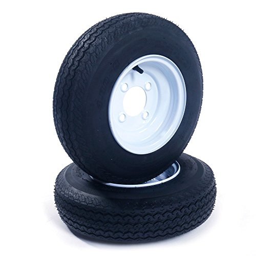 AutoForever 2 New Trailer Tires Rims 480-8 4.80 X 8 LRB 4 Lug Hole Bolt Wheel White Spoke 4 Ply 4PR