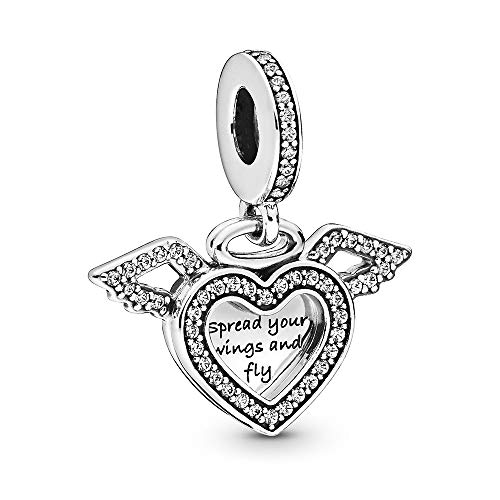 FGT Love Heart Charm for Bracelet Engraved Dangle Sterling Silver Angel Wing Charm Gift for Daughter Sister Best Friend Birthday