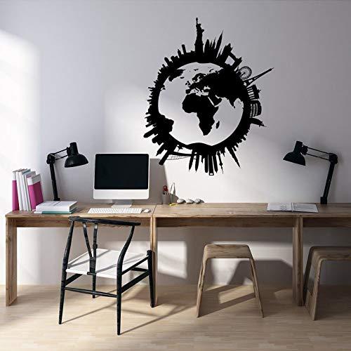 Calcomanía de pared con mapa del mundo de Ceciliapater, globo terráqueo del mundo, adhesivo de pared de viaje, decoración alrededor del mundo, globo terráqueo del mundo, mapa del mundo de viajes K235