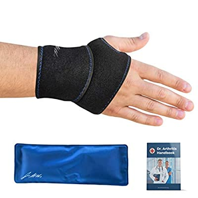 Doctor Developed Wrist Ice Pack Wrap / Hand Support Brace with Reusable Gel Pack & Doctor Written Handbook [Single] - Suitable for both Right and Left Hands