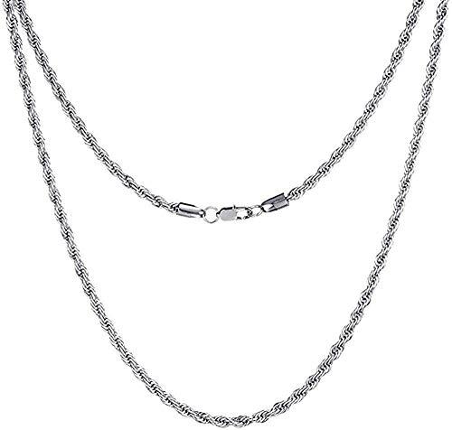 LDKAIMLLN Co.,ltd Collar Hop Ancho 3 mm Collar de Cadena de Cuerda Color Trenzado Plata 316L Collares de Acero Inoxidable para Mujeres Joyería para Hombres