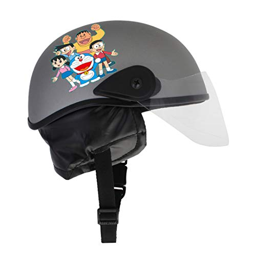 Sage Square Junior Adjustable Doraemon Helmet for Kids Baby Safety and Comfort (3-12 Years) (Silver Glossy)