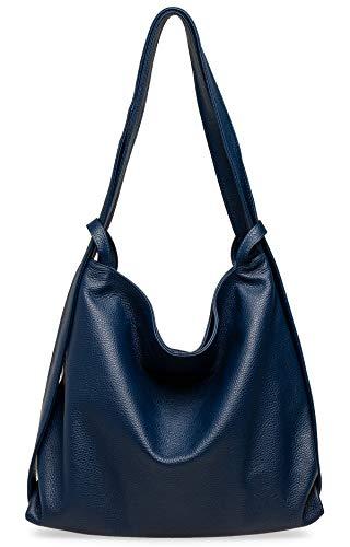 Caspar TL786 Damen Leder 2 in 1 Schultertasche Rucksack, Farbe:blau, Größe:One Size
