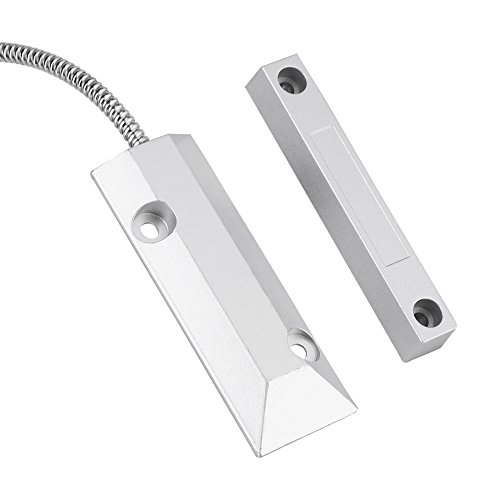 Zerodis Alarma de Puerta Sensor Magnético Alarma para Puertas y Ventanas, Ventana de Puerta de Metal con Cable Detector Magnético Sensores de Puertas y Ventanas Sensores y Detectores de Seguridad