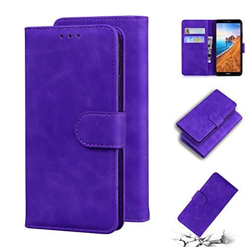 Snow Color Xiaomi Redmi 7A Hülle, Premium Leder Tasche Flip Wallet Case [Standfunktion] [Kartenfächern] PU-Leder Schutzhülle Brieftasche Handyhülle für Xiaomi Redmi 7A - COTX010727 Violett