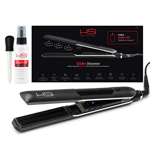 HSI Professional Glider Steamer Ceramic Flat Iron | Dispenses Argan Oil Infused Steam, Added Moisture & Thermal Protection | Tourmaline Ionic Hair Straightener