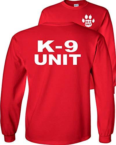 Fair Game K-9 Unit Police Officer Long Sleeve T-Shirt K9 Handler Uniform Law Enforcement Duty v2-Red-Medium