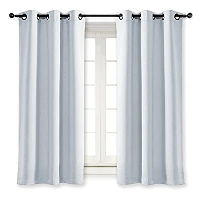NICETOWN Room Darkening Window Treatment Curtain Energy Smart Thermal Insulated Block Out Sunlight Shade & Blind for Bedroom with Grommet Ring Top (Cloud Grey, Single Panel, 42 by 63)