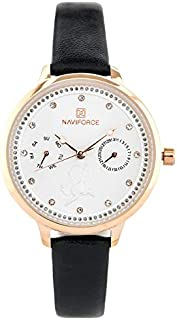 Naviforce Women's White Dial Genuine Leather Analog Watch - NF5003-RGWB