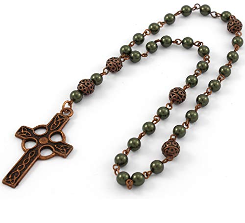 Anglican Prayer Beads with Dark Green Pearls and Celtic Cross in Antique Copper, Anglican Rosary, Pearl Prayer Beads, Custom Rosary