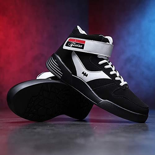 MUOU Zapatillas Hombres Deporte Running Zapatos para Correr Sneakers Deportivas Casual Zapatos para Correr Zapatos Altos (45 EU, Blanco)