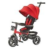 Byx- Triciclo de niños Cochecito de bebé Plegable Bicicleta 1-2-3-4 años Deslizamiento portátil Bebé Artefacto @ (Color : Red)