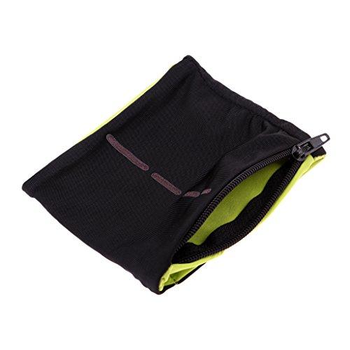 Homyl Sport Schweißarmband mit Reißverschluss Tasche, 9 Farben wählbar - Schwarz Hellgrün