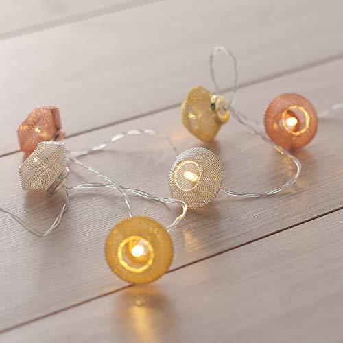 DecoKing 10er LED Lichterkette orientalisch marokkanisch warmes Weiß statisch batteriebetriebene LED Girlande Gartendeko Morocco