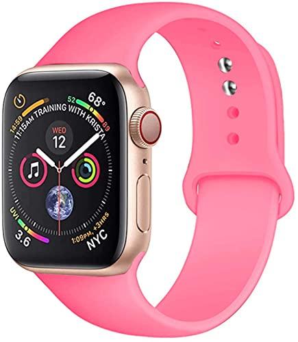 FYWWJ Correa de silicona para Apple Watch Band 44 mm, 42 mm, 40 mm, 38 mm, iWatch para Apple Watch Series 6, SE, 5, 4, 3, 2, rosa claro, 42 o 44 mm, M-L