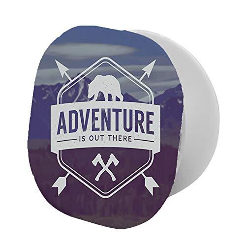 Soporte plegable para teléfono celular, hachetas con cita motivacional y paisaje de montaña de oso
