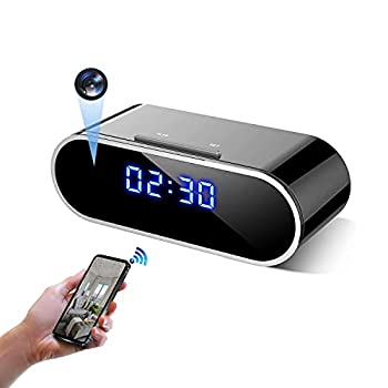 Hidden Camera 1080P Wireless WiFi Hidden Camera Clock Nanny Camera with 140 Angle Night Vision Motion Detection for Home Security Monitor Video Recorder  Black