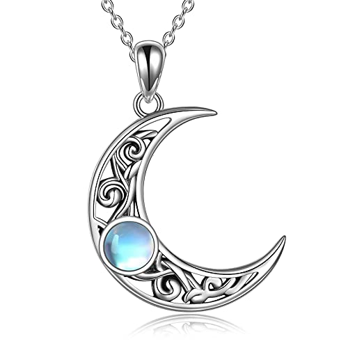 Moonstone Crescent Moon Necklace for Women Sterling Silver Celtic Moon Pendant Irish Jewelry Gifts for Girl Mother Daughter Sister (Silver)