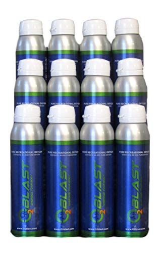 95% Pure Oxygen Supplement, Quick Recovery for Exercise, Hangovers, and Altitude Sickness. Sanitary flip top Cap (4 Liter Oxygen Canisters - 12 Pack case - All Natural)