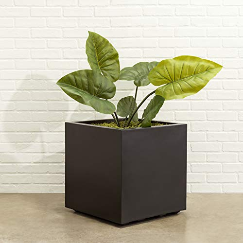 """Square Black Planter XL Extra Large Outdoor, Indoor   Seeley Cube Box Pot 30"""" Inch Best Tall Plastic Heavy-Duty Trees, Plants, Bushes Contemporary Architectural Fiberglass Resin Commercial Grade"""