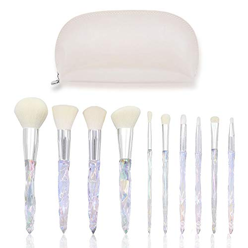 Make-up-Pinsel-Set, 10-in-1-Kosmetikkosmetik-Make-up-Kunstfaser-Borsten-Bürsten-Foundation-Kits Blending-Eye-Concealer-Schatten mit Reise-Beutel-Beutel mischen (Weiß)