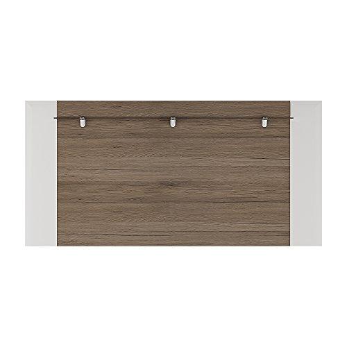 Möbel to go Toronto hinten Wandmontage für 190cm TV Unterschrank inkl. TASMA Flex Beleuchtung, weiß glänzend