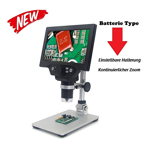 KKmoon Microscopio digitale 12 MP 1 – 1200 X lente di ingrandimento 7 pollici display LCD 8 LED regolabile luminosità per cellulare Industrial QC ispezione con supporto in lega di alluminio