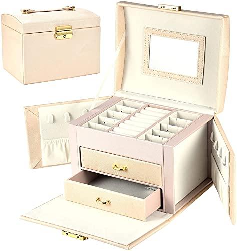 Archivia Mini Bowlery Box Organizer per donna, 3 strati PU. Regalo di custodia per gioielli in pelle con serratura e specchio, portatile caso di viaggio per anelli, bracciali, orecchini, collane, brac
