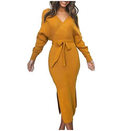Zarupeng Damen Winter Strickkleid Rückenfrei V-Ausschnitt Langarm Kleid Solide Color Lange Abendkleid Partykleid mit Gürtel