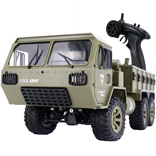 The perseids RC Military Truck, 1:16 Scale 2.4G 6WD Heavy Off-Road Vehicle Remote Control Full Proportion Army Car Toy for Kids Over 14 Years Old & Adults