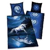 Franp – Juego de cama de Anne Stockes, diseño de unicornio Moonlight Fantasy, tamaño 155/220 en impresión digital de...
