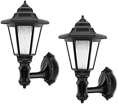 Solar Wall Lantern Wall Lamp, Solar Waterproof Wall Light Outdoor Wall Sconce Led Hexagonal Light Fixture for Wall, Garage, Front Porch,Fence, Yard Cool White - 2 Pack