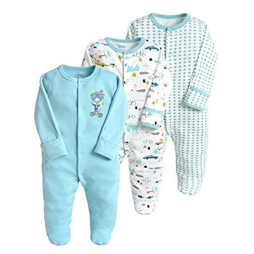 Bebé Mameluco de Algodón Piezas de 3, Recién Nacido Pelele Niño Niña Pijama Monos Manga Larga Body Ropa para Bebé 0-3 Meses