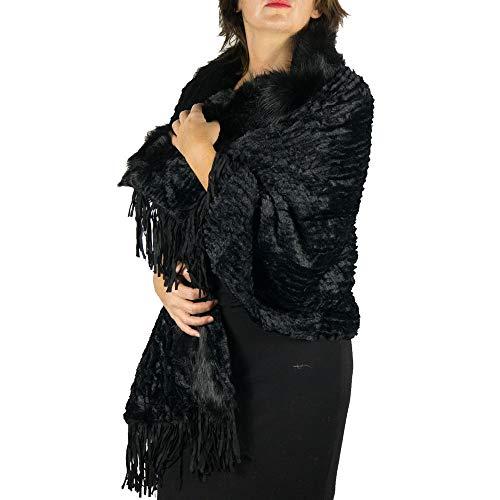 Stola di pelliccia nera ecologica elegante coprispalle invernale sciarpa per x Matrimonio mantella Sposa calda collo in pelo lungo ecopelliccia copri