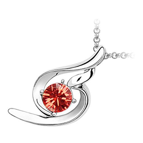 GWG Jewellery Collares Mujer Regalo Collar con Colgante, Chapado en Oro Blanco 18K Cristal Brillante de Color Granate Naranjado Dentro de Espiral Doble para Mujeres