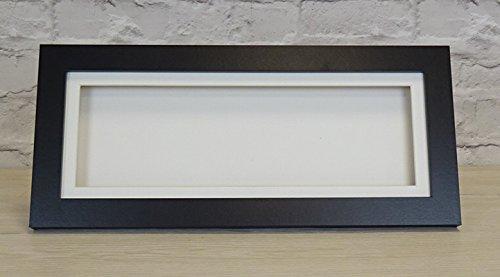 3D 1' Deep Panoramic Long Thin Box Shadow Frame Medals Casts Memorabilia-20x8 inch-Black