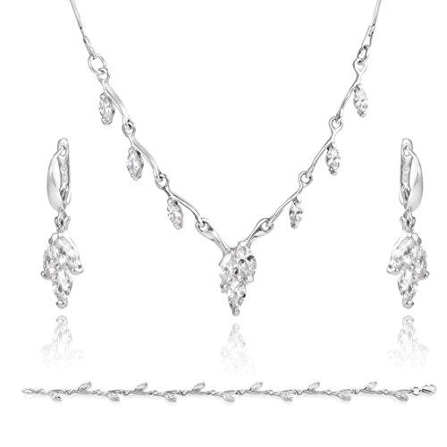 LillyMarie Damen Silber-Schmuckset Sterling-Silber 925 Zirkonia-Steine Glitzer Farblos Längen-verstellbar Schmucketui Brautschmuck