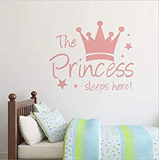 The Pricess sleeps here Wall Stickers For Girls Bedroom Wall Decals Diy Poster Wallpaper Home Decor