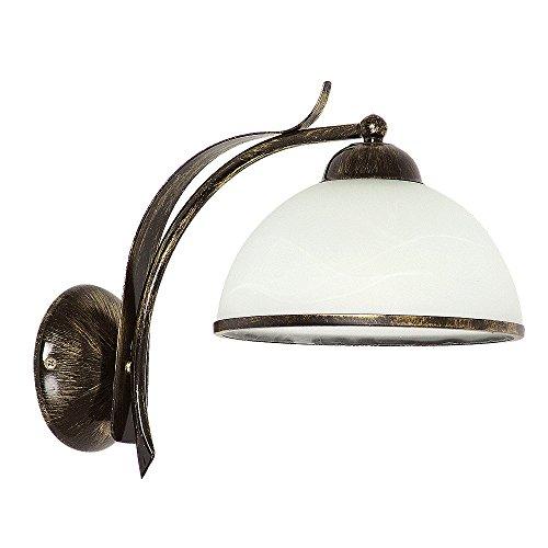 Prächtige Wandleuchte in Messing Antik Weiß Floral 1x E27 bis zu 60 Watt 230V aus Glas & Metall Schlafzimmer Flur Wohnzimmer Esszimmer Lampen Leuchte Wandlampe innen