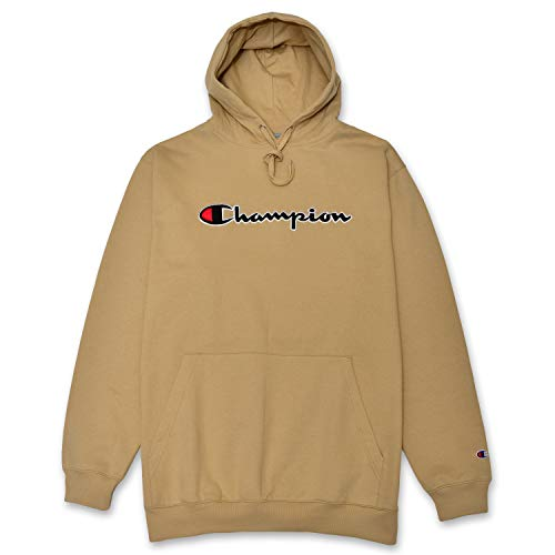 Champion Mens Big and Tall Hoodie Sweatshirt With Embroidered Script Logo Khaki
