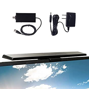 GE Amplified HD TV Antenna Easy Mount to Top of TV Design Supports 4K 1080P Digital HDTV VHF UHF Long Range Included Amplifier Signal Booster AC Adapter and 5 ft Coax Indoor 37075