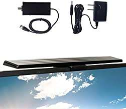 GE Amplified HD TV Antenna, Easy Mount to Top of TV Design, Supports 4K 1080P Digital HDTV VHF UHF, Long Range, Included Amplifier Signal Booster, AC Adapter, and 5 ft. Coax, Indoor, 37075
