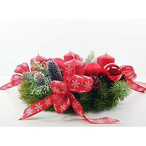 Adventskranz Tannenzapfen Tanne Künstlich Nordmanntanne Kugeln Schleifen Kerzen Gräser künstlich Weihnachten Advent