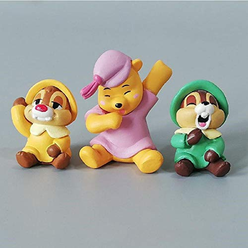 Anime Figure3Pcs/Set Chip 'N' Dale Winnie Pooh Action Figure Dolls Toy Cake Car Decoration Toys Gifts For Kids Anime Figuras 3-4Cm