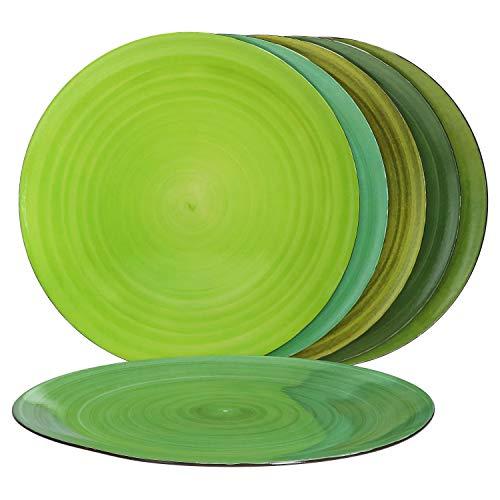 MamboCat Green Baita 6er Platz-Teller-Set grün I bezaubernde Deko-Teller groß Ø 33 cm I modernes Platz-Set mit Strudel-Muster I Tischset - pflegeleicht & stapelbar I grüne große Teller 6 Stück