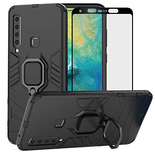 YundEU Hülle für Samsung Galaxy A9 2018 mit schutzfolie, Hybrid Rüstung Defender Ganzkörperschutz Heavy Duty Hard Bumper Silikon Handyhülle stossfest Schutzhülle Hülle Tasche mit Kickstand, Schwarz
