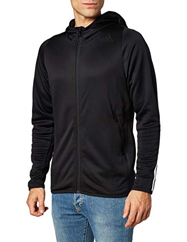 adidas Mens Daily 3s Hoodie Hooded Sweatshirt, Black, XL