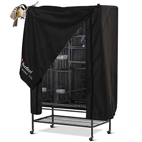 Perfitel Universal Bird Cage Cover(Black) Good Night Birdcage Cover Black-Out Birdcage Cover Durable Breathable Washable Material