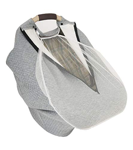 Multi-use Baby Car Seat Covers Winter Spring for Girls Boys|Stretchy Infant Cover Canopy|Nursing Cover| Warm Breathable Windproof| Mosquito Net, Zipper,Grey| BONUS eBook