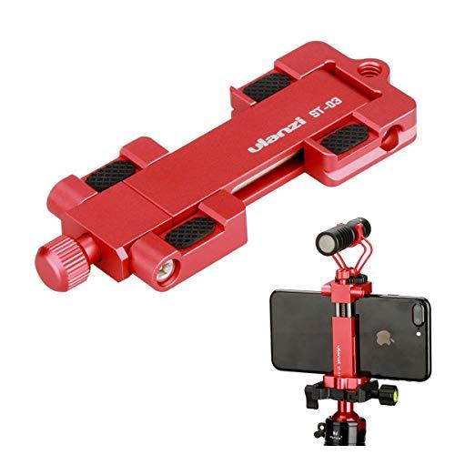 ULANZI ST-03 Metall Smartphone Stativ mit Cold Shoe Mount und Arca-Stil Schnellwechselplatte für iPhone 11 pro max 7 Plus Samsung Huawei, Handy Stativ Halter Clip Adapter (rot)